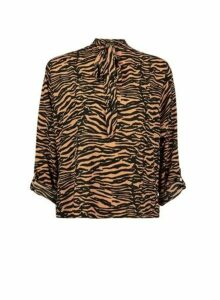 Womens Brown Zebra Print Tie Neck Batwing Sleeve Shirt, Brown