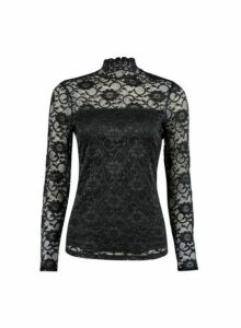 Womens **Black High Neck Lace Top, Black