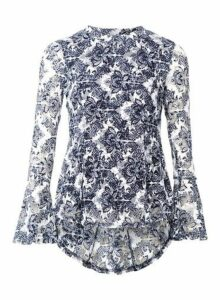 Womens *Izabel London Navy Damask Print Blouse, Navy