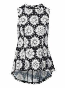 Womens *Izabel London Black Mosaic Print Peplum Top, Black