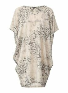 Womens *Izabel London Beige Leaf Print Tunic Top, Beige
