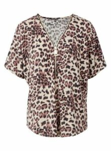 Womens *Izabel London Beige Leopard Print Top- Brown, Brown