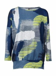 Womens *Izabel London Blue Brushstroke Print Jumper, Blue