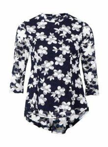 Womens *Izabel London Navy Floral Print Lace Blouse, Navy