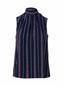 Womens *Izabel London Navy Stripe Print Tie Neck Vest, Navy