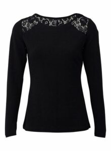 Womens *Izabel London Black Lace Jumper- Black, Black
