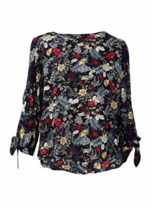 Womens *Izabel London Navy Floral Print Blouse- Blue, Blue