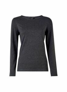 Womens Charcoal Long Sleeve Crew Neck Cotton Mix T-Shirt- Grey, Grey