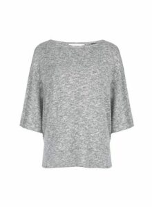 Womens Grey Boxy Brushed Top- Grey, Grey