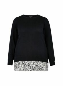 Womens Dp Curve Black Leopard Print 2-In-1 Jumper, Black