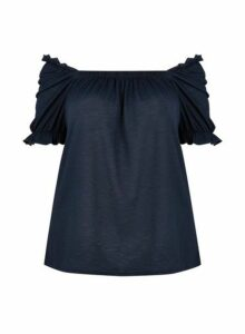 Womens **Dp Curve Navy Bardot Top- Blue, Blue