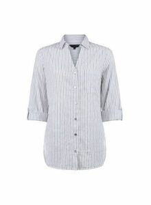 Womens White Pinstripe Cotton Shirt- White, White