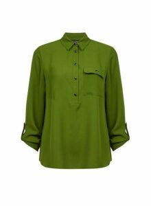 Womens Green Roll Sleeve Shirt- Green, Green