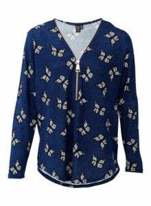 Womens *Izabel London Blue Butterfly Print Top, Blue