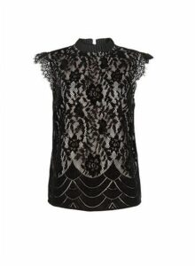 Womens **Luxe Black Lace Contrast Top- Black, Black