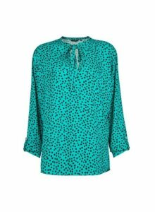 Womens **Tall Green Spot Print Tie Neck Top, Green