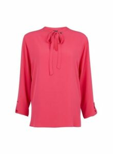 Womens **Tall Pink Tie Neck Top, Pink