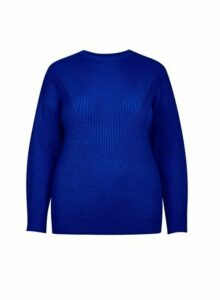 Womens **Dp Curve Cobalt Stitch Jumper, Cobalt