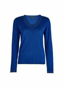 Womens Blue Cobalt V-Neck Stud Jumper With Cotton, Cobalt