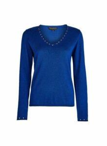 Womens Blue Cobalt V-Neck Stud Jumper With Cotton, Cobalt