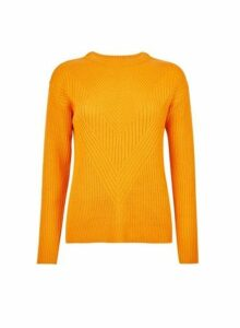 Womens Orange Ribbed Stitch Jumper, Orange