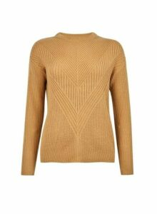 Womens Camel Ribbed Stitch Jumper- Brown, Brown