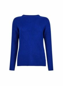 Womens Blue Ribbed Stitch Jumper- Blue, Blue