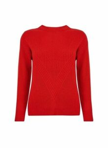 Womens Red Ribbed Stitch Jumper, Red