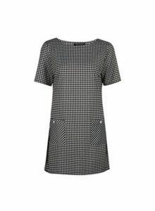 Womens Monochrome Puppytooth Print Tunic Top - Black, Black