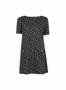 Womens Black And White Spot Print Tunic Top- Black, Black