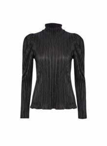 Womens Black Plisse High Neck Top- Black, Black