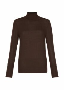 Lara Merino Wool Roll Neck Chocolate