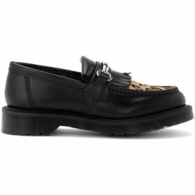 Dr Martens  Adrian moccasin shoe in black leather and details in leopard  women's Loafers / Casual Shoes in Other