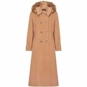 Anastasia  Camel Womens Hood Military Cashmere Coat  women's Coat in Beige