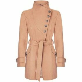 Anastasia  Camel Womens Multi Button Asymentric Coat  women's Trench Coat in Beige