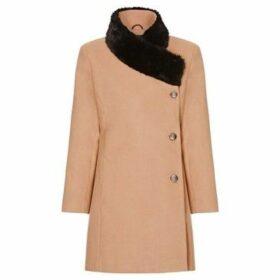 De La Creme  Camel Womens Assymetrical Fur Collar Coat  women's Coat in Beige