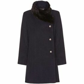 De La Creme  navy Womens Assymetrical Fur Collar Coat  women's Coat in Blue