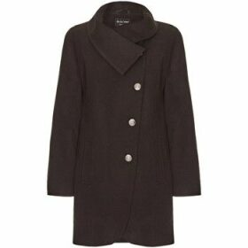 De La Creme  Black Womens Assymetic 3/4 Coat with Multi Buttons  women's Coat in Black