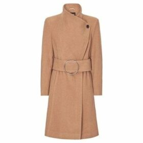Anastasia  Camel Womens Asymetric Cashmere Buckle Coat  women's Trench Coat in Beige