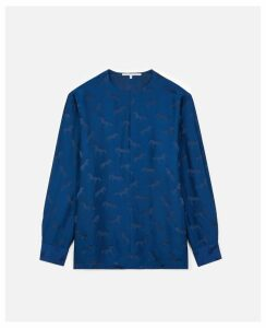 Stella McCartney Blue Horses Jacquar Blouse, Women's, Size 12