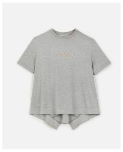 Stella McCartney GREY Gold Logo T-shirt, Women's, Size 6