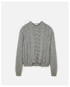Stella McCartney GREY Grey Cable Knit, Women's, Size 14