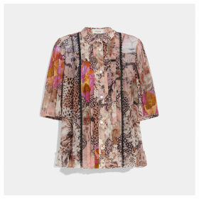 Coach Button Down Blouse With Kaffe Fassett Print