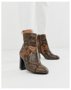 ASOS DESIGN Rescue leather block heel boots in snake-Tan