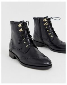 Dune Prime lace up leather boot-Black