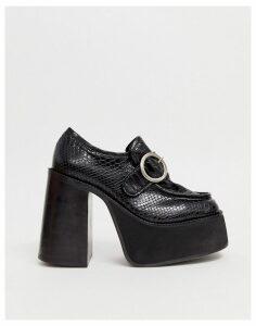 Kaltur platform snake effect heeled loafers with buckle detail-Black