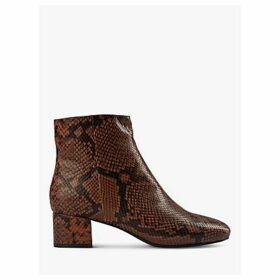 SHOE THE BEAR Vicky Leather Snake Print Ankle Boots