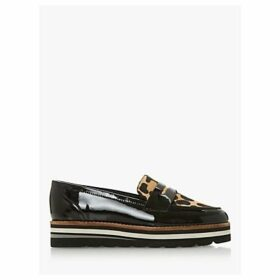 Dune Wide Fit Gracella Flatform Loafers, Leopard