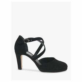 Gabor Sabine Cone Heel Cross Strap Court Shoes, Black