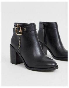 Miss KG buckle detail block heel boots-Black